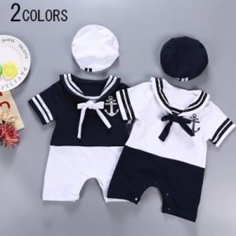 ベビー 男の子 女の子 ベビー服 赤ちゃん服 ロンパース カバーオール 帽子付き 2点セット マリン セーラー つなぎ ハット