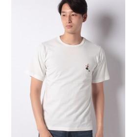 インクルーシブ 6.5オンス コットン ワンポイント刺繍Tシャツ メンズ ホワイト M 【INCREWSIVE】