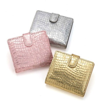 Arukan/アルカン パールクロコ 二つ折財布シルバー
