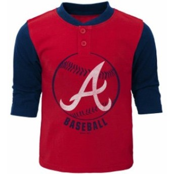 Outerstuff アウタースタッフ スポーツ用品 Atlanta Braves Toddler Red/Navy Legacy Henley 3/4-Sleeve T-Shirt