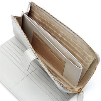 L字ファスナー クロコ型押し エナメル カードたくさん 長財布ネイビー