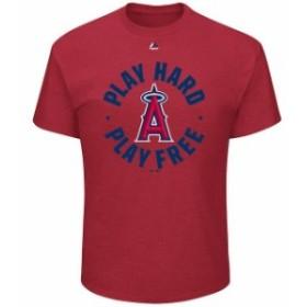 Majestic マジェスティック スポーツ用品  Majestic Los Angeles Angels Red Play Hard Play Free T-Shirt