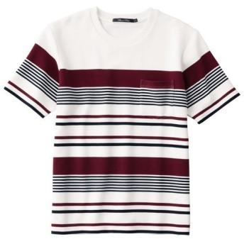 【メンズ】 人気素材リップルカットソーのパネルボーダー柄Tシャツ - セシール ■カラー:ホワイト系 ■サイズ:LL,3L,5L,L,M