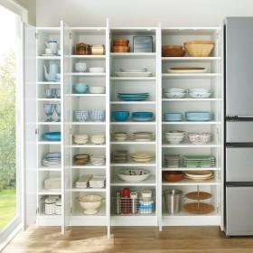 食器のサイズに合わせて選べる食器棚 幅30cm奥行42cm高さ180cmホワイト