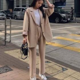 韓國 スーツ パンツスーツ セットアップ 通勤 ビジネス オフィス レディース ファッション 大きいサイズ オルチャン c104