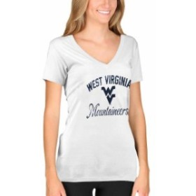New Agenda ニュー アジェンダ スポーツ用品  New Agenda West Virginia Mountaineers Womens White Fanciful V-Neck T-Sh