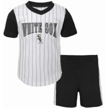 Outerstuff アウタースタッフ スポーツ用品 Chicago White Sox Infant White/Black Little Hitter V-Neck T-Shirt & Shor