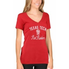 New Agenda ニュー アジェンダ スポーツ用品  New Agenda Texas Tech Red Raiders Womens Red Fanciful V-Neck T-Shirt