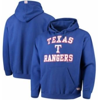 Stitches スティッチ スポーツ用品  Stitches Texas Rangers Royal Blue Fastball Fleece Pullover Hoodie