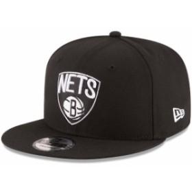 New Era ニュー エラ スポーツ用品  New Era Brooklyn Nets Black Black & White Logo 9FIFTY Adjustable Snapback Hat