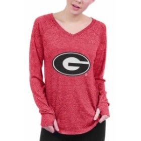 chicka-d チッカ スポーツ用品  chicka-d Georgia Bulldogs Womens Red Favorite V-Neck Heathered Long Sleeve T-Shirt
