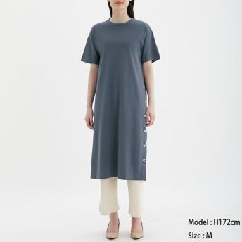 (GU)ボタンTワンピース(5分袖) BLUE L