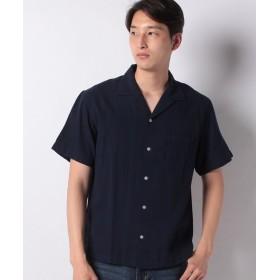 【32%OFF】 イッカ 麻混ピケオープンカラーシャツ メンズ ネイビー L 【ikka】 【セール開催中】