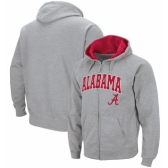 Colosseum コロセウム スポーツ用品 Colosseum Alabama Crimson Tide Heathered Gray Arch & Logo Full-Zip Hoodie