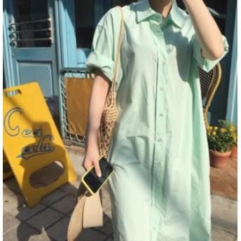 オルチャン 韓国 ファッション シャツワンピース ロング シャツワンピ 大きいサイズ ゆったり 半袖 無地 ベーシック カジュアル