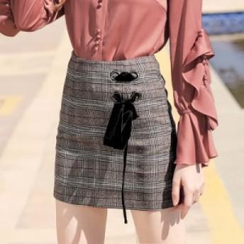 レディース ファッション スカート タイトスカート チェック柄 ミニ リボン 可愛い スリット 大きいサイズ タイト ショート おしゃれ 大