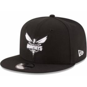 New Era ニュー エラ スポーツ用品  New Era Charlotte Hornets Black Black & White Logo 9FIFTY Adjustable Snapback Hat