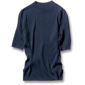 シルクリネン ワイドリブ 半袖 プルオーバーダークネイビー3L