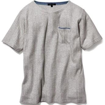53%OFF【メンズ】 ニット調カットソーヨットネックTシャツ - セシール ■カラー:グレー系 ■サイズ:5L,3L