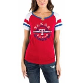 New Era ニュー エラ スポーツ用品  New Era Texas Rangers Womens Red Scoop Neck T-Shirt