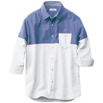 【メンズ】 人気デザイン、切替仕様のパナマ織り素材シャツ(7分袖) - セシール ■カラー:ブルー系 ■サイズ:M,3L,L,LL,5L