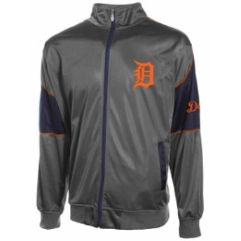 Majestic マジェスティック スポーツ用品 Majestic Detroit Tigers Gray Big and Tall Full Zip Track Jacket