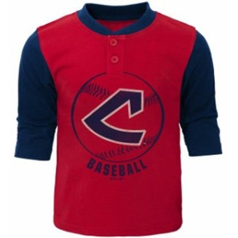Outerstuff アウタースタッフ スポーツ用品 Cleveland Indians Toddler Red/Navy Cooperstown Collection Legacy Henley