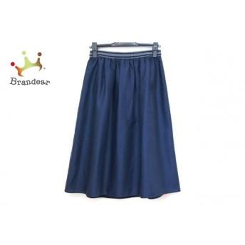 ジユウク スカート サイズ36 S レディース 美品 ダークネイビー×グレー ウエストゴム スペシャル特価 20190816