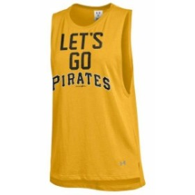 Under Armour アンダー アーマー 服 タンクトップ Under Armour Pittsburgh Pirates Womens Gold Pride Sleeveless Perfo
