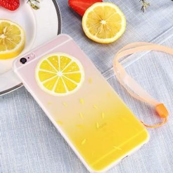 レモン iPhone6 plus / 6s plus シリコン シェル ケース 携帯 カバー便利 落下防止 ストラップ 付き gabb