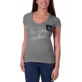 47 フォーティーセブン スポーツ用品  47 New York Yankees Womens Heathered Gray Harbour V-Neck Pocket T-Shirt