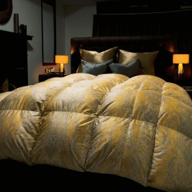 キングロング(シルク×超長綿で包んだ最高位ラベルポーランド産マザーグース羽毛布団)ゴールド