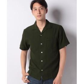 【32%OFF】 イッカ 麻混ピケオープンカラーシャツ メンズ オリーブ L 【ikka】 【セール開催中】