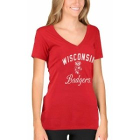 New Agenda ニュー アジェンダ スポーツ用品  New Agenda Wisconsin Badgers Womens Red Fanciful V-Neck T-Shirt
