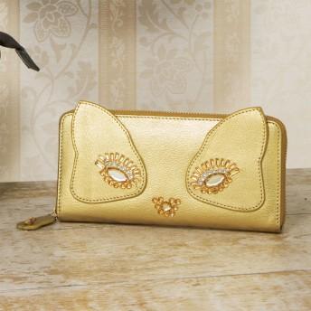 ネコのキラキラ長財布ゴールド