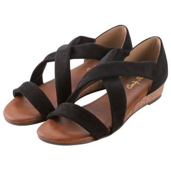 歩きやすいクロスサンダル - セシール ■カラー:ブラック ■サイズ:S(22.5cm),LL(24.5cm),M(23-23.5cm),L(24cm)