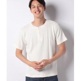 インクルーシブ 11.5オンス ランダムワッフル コットンTシャツ メンズ ホワイト L 【INCREWSIVE】