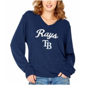 Soft as a Grape ソフト アズ ア グレープ 服 スウェット Soft as a Grape Tampa Bay Rays Womens Navy Drapey V-Neck S