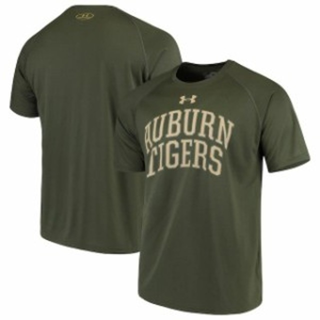 Under Armour アンダー アーマー スポーツ用品  Under Armour Auburn Tigers Olive Tonal Arch Tech Performance T-Shirt