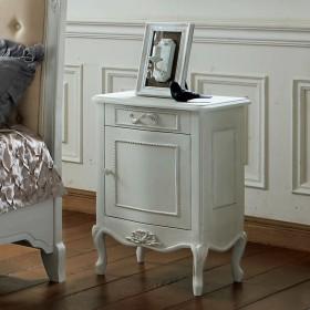 シャビーシック ホワイト フレンチ収納家具シリーズ サイドチェストグレイッシュホワイト