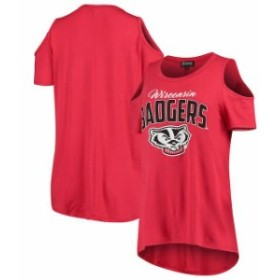 Gameday Couture ゲームデイ コーチャー スポーツ用品  Wisconsin Badgers Womens Red Gameday Cold Shoulder Flowy Top