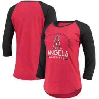 47 フォーティーセブン スポーツ用品 47 Los Angeles Angels Womens Heathered Red Club 3/4-Sleeve Raglan T-Shirt