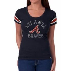 47 フォーティーセブン スポーツ用品  47 Atlanta Braves Womens Navy Off Campus IV Logo Center T-Shirt