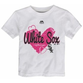 Majestic マジェスティック スポーツ用品  Majestic Chicago White Sox Girls Toddler White Triple Heart T-Shirt