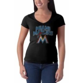 47 フォーティーセブン スポーツ用品  47 Miami Marlins Womens Black Flanker V-Neck Logo Tee