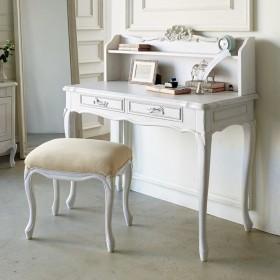 シャビーシック フレンチ リビング収納家具シリーズ デスクグレイッシュホワイト