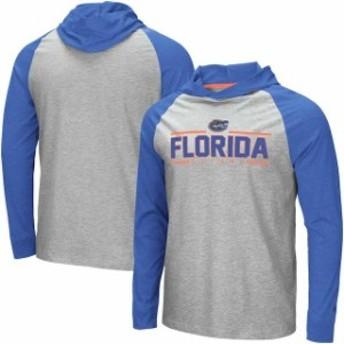 Colosseum コロセウム スポーツ用品 Colosseum Florida Gators Heathered Gray Slopestyle Raglan Hooded Long Sleeve T-Shi
