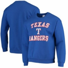 Stitches スティッチ 服 スウェット Stitches Texas Rangers Warning Track Crewneck Sweatshirt - Royal Blue
