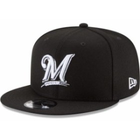 New Era ニュー エラ スポーツ用品  New Era Milwaukee Brewers Black Black & White 9FIFTY Snapback Hat
