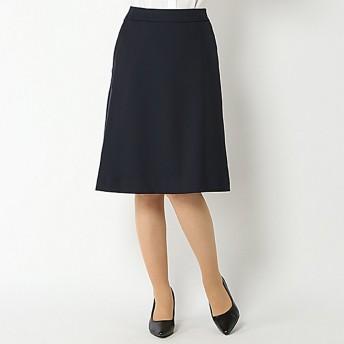 【ピュアラスト】洗えるフレアースカート(レディース) ネイビー